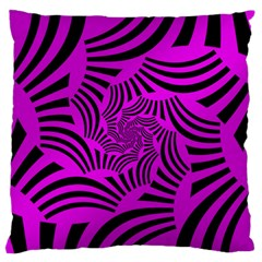 Black Spral Stripes Pink Large Flano Cushion Case (two Sides) by designworld65