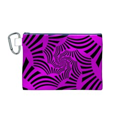 Black Spral Stripes Pink Canvas Cosmetic Bag (m) by designworld65