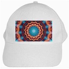 Blue Feather Mandala White Cap