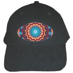 Blue Feather Mandala Black Cap