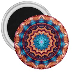 Blue Feather Mandala 3  Magnets by designworld65