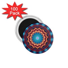Blue Feather Mandala 1 75  Magnets (100 Pack)  by designworld65