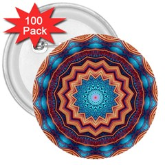 Blue Feather Mandala 3  Buttons (100 Pack)  by designworld65