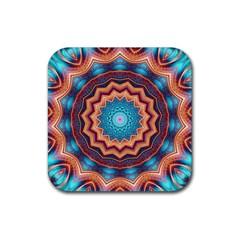 Blue Feather Mandala Rubber Square Coaster (4 Pack)  by designworld65