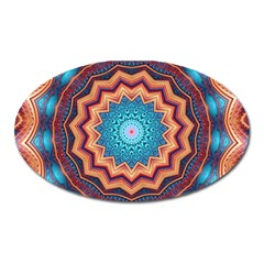 Blue Feather Mandala Oval Magnet
