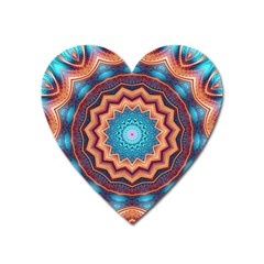 Blue Feather Mandala Heart Magnet