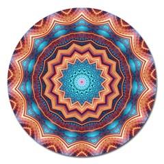 Blue Feather Mandala Magnet 5  (round)