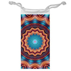 Blue Feather Mandala Jewelry Bag