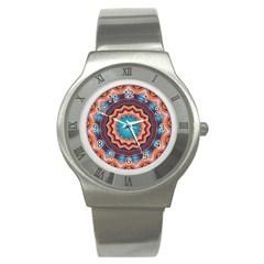 Blue Feather Mandala Stainless Steel Watch by designworld65