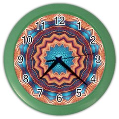 Blue Feather Mandala Color Wall Clocks