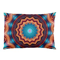 Blue Feather Mandala Pillow Case (two Sides) by designworld65