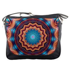 Blue Feather Mandala Messenger Bags by designworld65