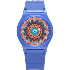 Blue Feather Mandala Round Plastic Sport Watch (s) by designworld65