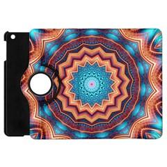 Blue Feather Mandala Apple Ipad Mini Flip 360 Case by designworld65