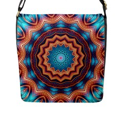 Blue Feather Mandala Flap Messenger Bag (l)  by designworld65