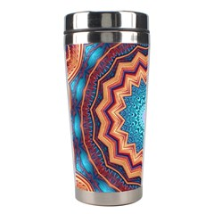 Blue Feather Mandala Stainless Steel Travel Tumblers by designworld65