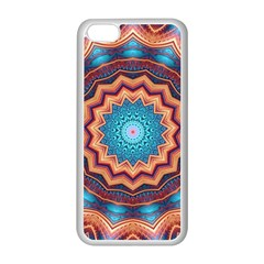 Blue Feather Mandala Apple Iphone 5c Seamless Case (white) by designworld65