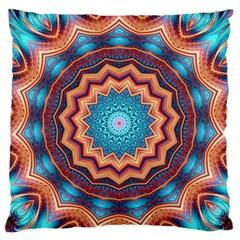 Blue Feather Mandala Standard Flano Cushion Case (two Sides) by designworld65