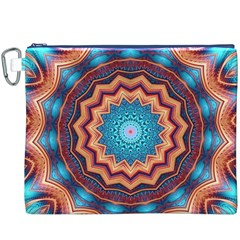 Blue Feather Mandala Canvas Cosmetic Bag (xxxl) by designworld65
