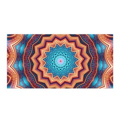 Blue Feather Mandala Satin Wrap by designworld65