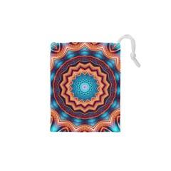 Blue Feather Mandala Drawstring Pouches (xs)  by designworld65
