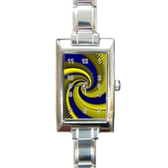 Blue Gold Dragon Spiral Rectangle Italian Charm Watch by designworld65