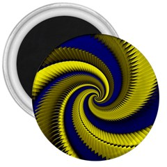 Blue Gold Dragon Spiral 3  Magnets
