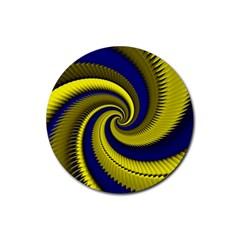 Blue Gold Dragon Spiral Rubber Coaster (round)  by designworld65