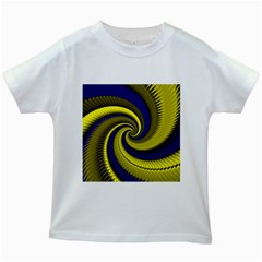 Blue Gold Dragon Spiral Kids White T Shirts