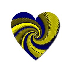 Blue Gold Dragon Spiral Heart Magnet