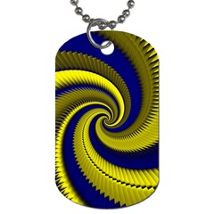 Blue Gold Dragon Spiral Dog Tag (two Sides) by designworld65