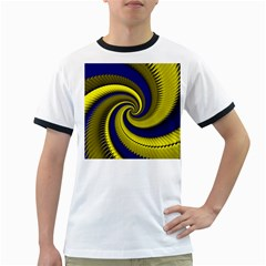 Blue Gold Dragon Spiral Ringer T Shirts