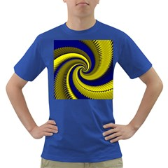 Blue Gold Dragon Spiral Dark T Shirt