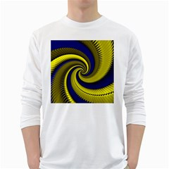 Blue Gold Dragon Spiral White Long Sleeve T Shirts by designworld65