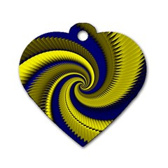Blue Gold Dragon Spiral Dog Tag Heart (one Side) by designworld65