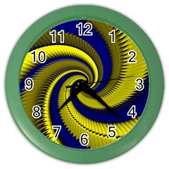 Blue Gold Dragon Spiral Color Wall Clocks