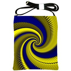 Blue Gold Dragon Spiral Shoulder Sling Bags by designworld65