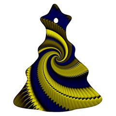 Blue Gold Dragon Spiral Christmas Tree Ornament (two Sides) by designworld65