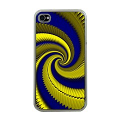 Blue Gold Dragon Spiral Apple Iphone 4 Case (clear) by designworld65