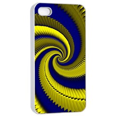 Blue Gold Dragon Spiral Apple Iphone 4/4s Seamless Case (white) by designworld65