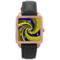 Blue Gold Dragon Spiral Rose Gold Leather Watch