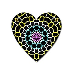 Colored Window Mandala Heart Magnet by designworld65