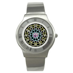 Colored Window Mandala Stainless Steel Watch by designworld65