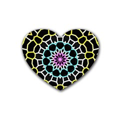 Colored Window Mandala Rubber Coaster (heart)  by designworld65