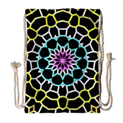 Colored Window Mandala Drawstring Bag (large) by designworld65