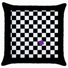 Dropout Purple Check Throw Pillow Case (black) by designworld65