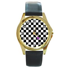 Dropout Purple Check Round Gold Metal Watch by designworld65
