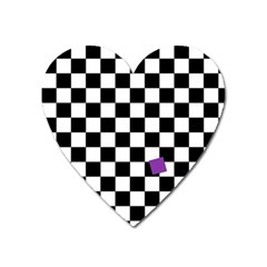 Dropout Purple Check Heart Magnet by designworld65