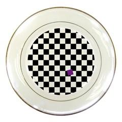 Dropout Purple Check Porcelain Plates by designworld65