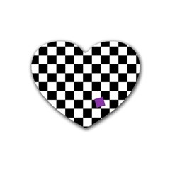 Dropout Purple Check Heart Coaster (4 Pack)  by designworld65